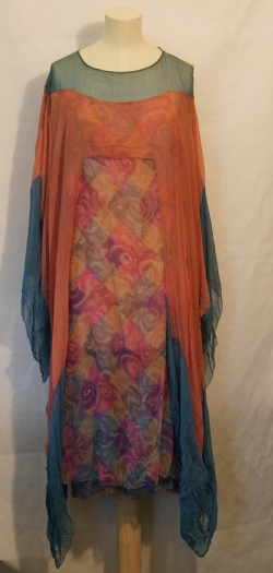 Blue and Pink Chiffon Dress 1920s