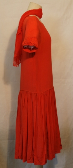 Red Chiffon Dress 1920s