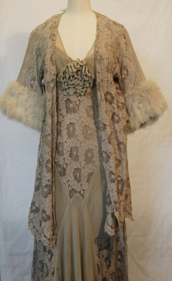 Grey silk and chiffon evening dress and jacket 1930s