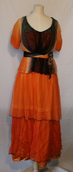 Black and Orange Evening Dress 1910s