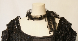 Black Net Beaded Scarf