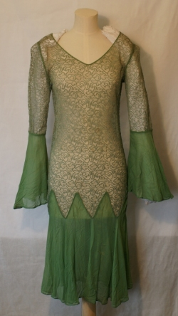 Green Lace and Chiffon Dress 1920s